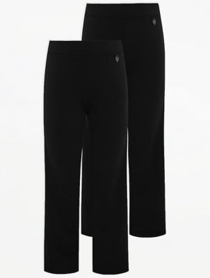 Girls Black Straight Leg Jersey School Trousers 2 Pack