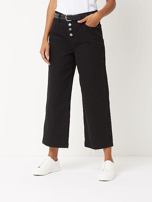 3b1bc7b507 Black Denim Button Wide Leg Cropped Jeans