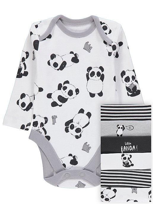 265b91297b Grey Assorted Design Panda Bodysuits 7 Pack