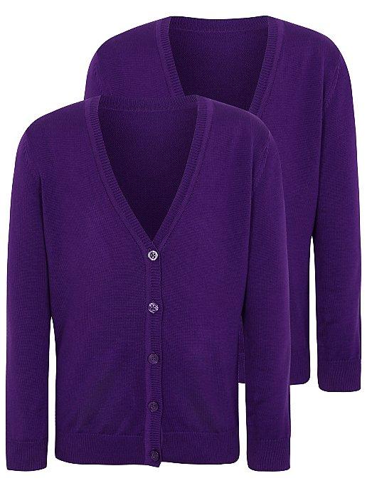 f2c5f422fe20 Girls Purple School Cardigan 2 Pack