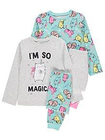 Grey Unicorn Cat Long Sleeve Pyjamas 2 Pack 1e85658c1