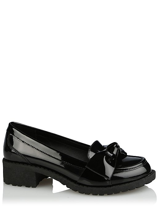 5a697c036fdf Girls Black Wide Fit Patent Bow Trim School Loafers. Reset