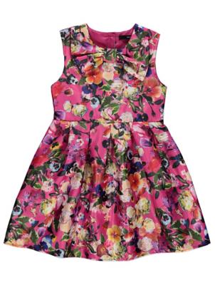 Floral Silk-Feel Sleeveless Pleated Dress