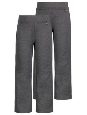 Girls Charcoal Longer Length School Trousers 2 Pack