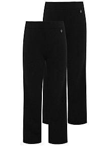 Girls Black Longer Length School Trousers 2 Pack 6de7316498