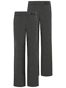 0367c3c734a Girls Grey Straight Leg Bow Detail School Trousers 2 Pack