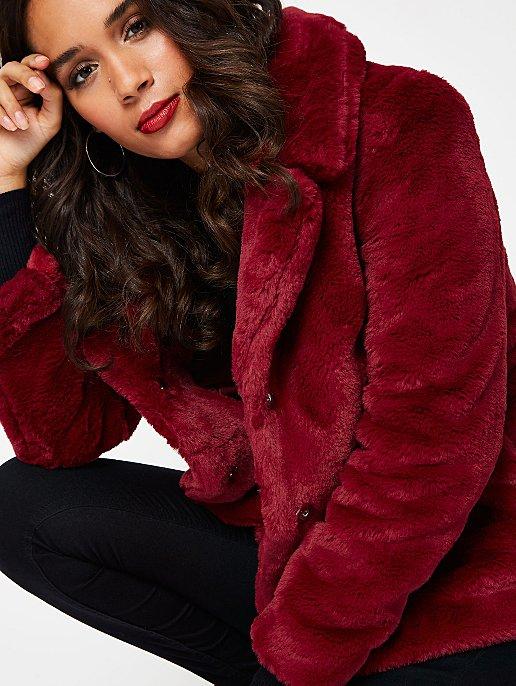 2acf72f6f7c Burgundy Faux Fur Coat | Women | George