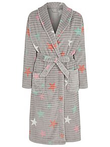 Grey Star Print Ribbed Dressing Gown cce4e422a