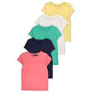 Assorted Colour Short Sleeve Tops 5 Pack