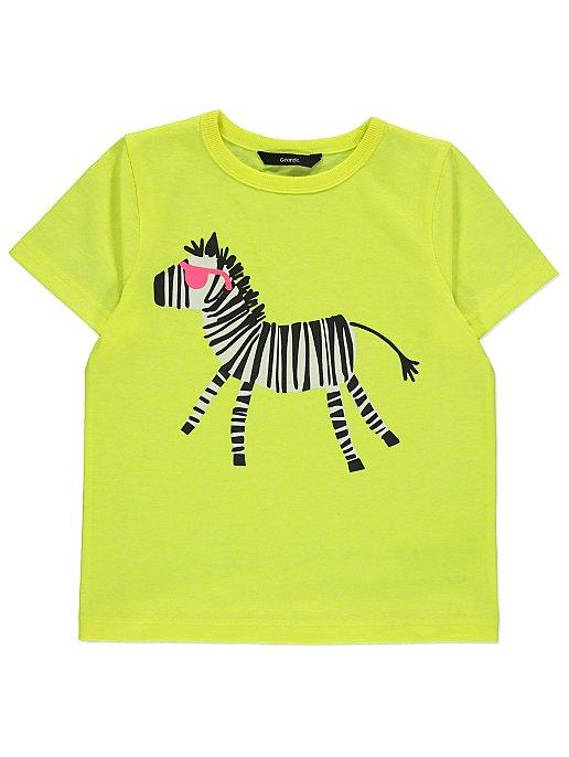 7c94a6939 Neon Yellow Zebra Print Short Sleeve T-Shirt | Kids | George