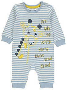 8359e77d4c4 Blue Striped Giraffe Slogan Romper