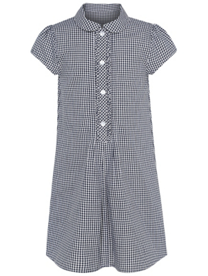 Girls Navy Gingham School Shift Dress