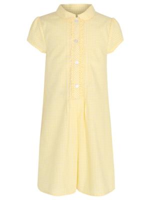 Girls Yellow Gingham School Shift Dress