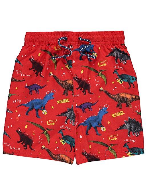 f19e859d7380f Red Dinosaur Print Swim Shorts | Kids | George