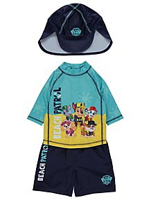 brand new bce3e 2b499 Paw Patrol Beach Patrol Sun Protection UV40 Swim and Hat Set