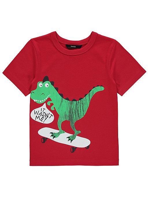 2bf7ea0c Red Slogan Skating Dinosaur Short Sleeve T-Shirt | Kids | George