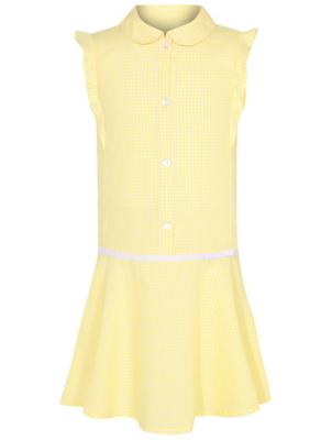 Girls Yellow Gingham Ruffle School Dress