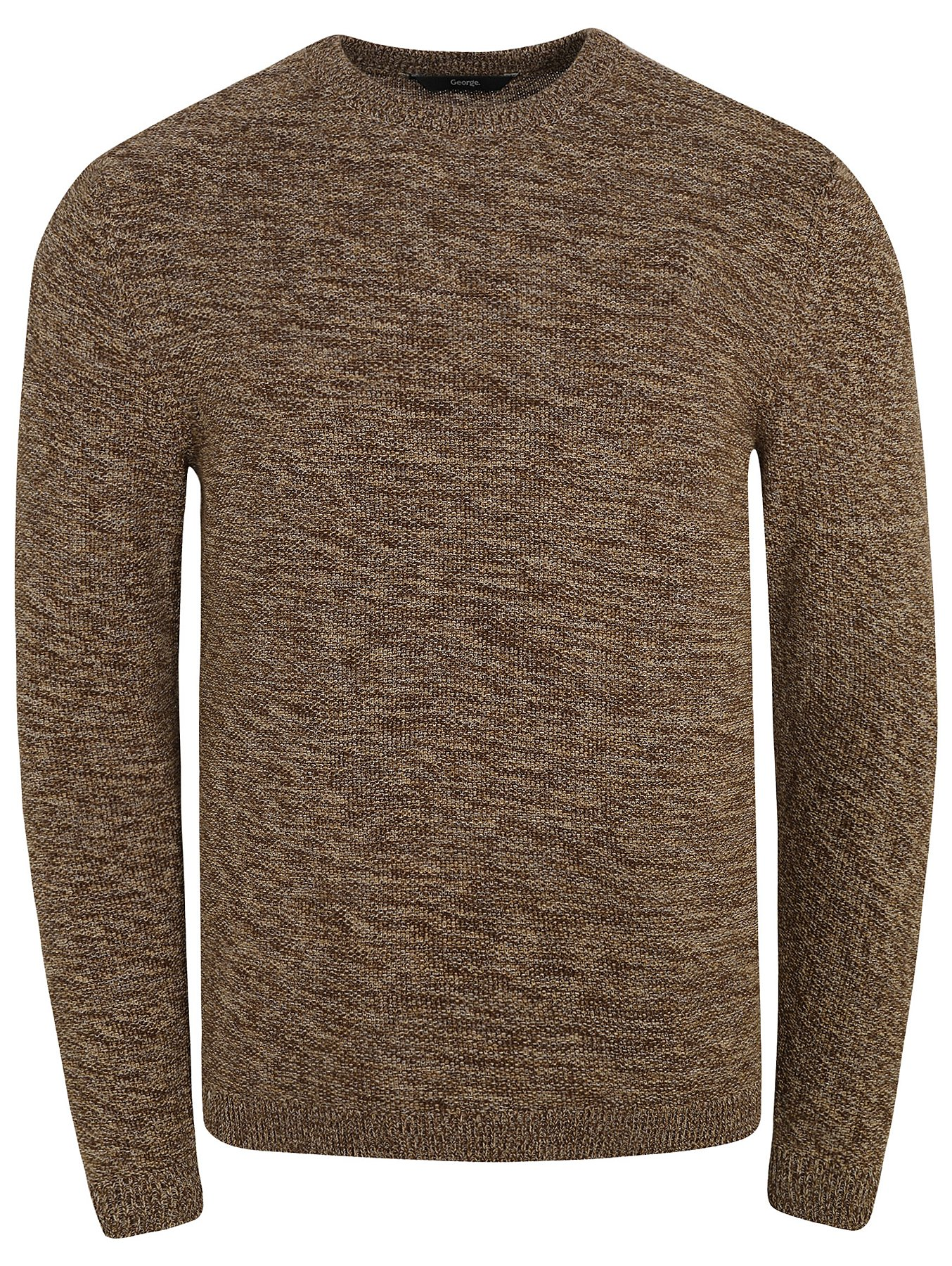 6c492ad3156 Marl Brown Chunky Knit Crew Neck Jumper