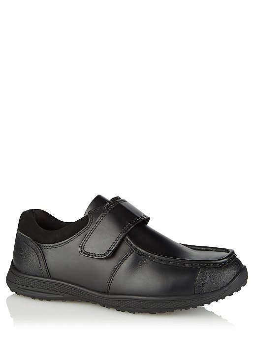 ae5d93fe4ab Boys Black Leather Strap Wide Fit School Shoes | Kids | George
