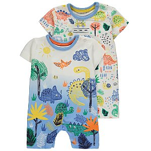495350612c White Assorted Dinosaur Rompers 2 Pack