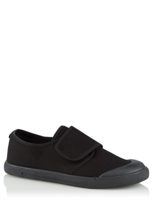 Black Wide Fit Plimsoll Pumps