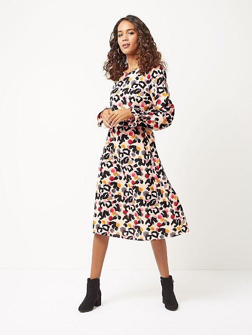 Pink Animal Print Belted Midi Dress. Reset c51603b40