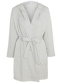 8345911984 Light Grey Brushed Back Jersey Wrap Hooded Gown