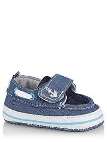 db7d81918a48 Blue Denim Look Nautical 1 Strap Deck Shoes