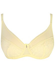ea43d6a687fb2 Entice Yellow Floral Lace Non-Padded Balcony Bra