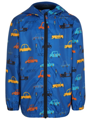 Blue Car Print Shower Resistant Jacket