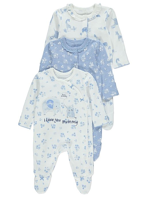 9b2eb9407 Blue Floral Sleepsuits 3 Pack