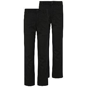 Boys Black Longer Length Skinny Leg Trousers 2 Pack