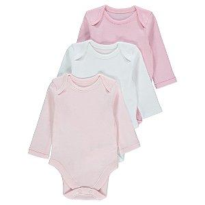 Pink Long Sleeve Bodysuit 3 Pack