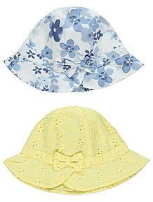 Assorted Floral Broderie Anglaise Hats 2 Pack 1b0ff87c59cd