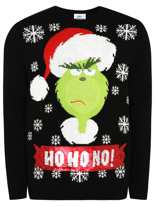 Dr Seuss The Grinch Swipe Sequin Christmas Jumper Men George