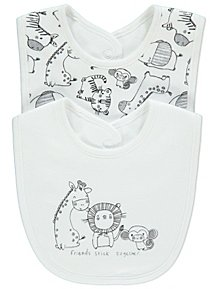 f229077a750 White Safari Slogan Bibs 2 Packs