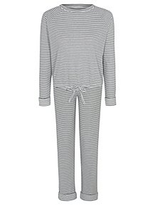 2a1d05b87a91 White Striped Tie-Front Ribbed Pyjamas