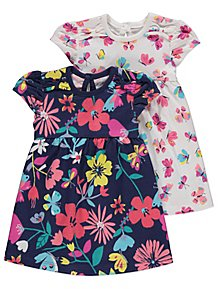 059551b0fdf1 Assorted Butterfly and Flower Jersey Dresses 2 Pack