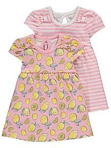 50c1c9436233 Pink Lemon Print Assorted Jersey Dresses 2 Pack