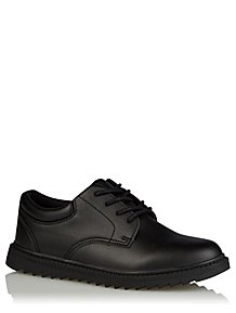 b9a609f9f6db Boys Black Faux Leather Lace Up School Shoes