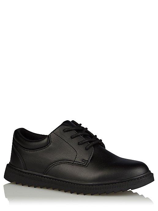 2777dc4c34 Boys Black Faux Leather Lace Up School Shoes
