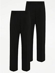 8afab74ae6d Boys Black Plus Fit Half Elastic School Trouser 2 Pack