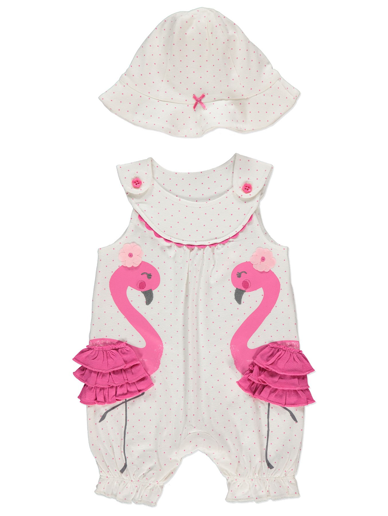 e23c0a4e4 Pink Flamingo Polka Dot Romper and Hat Outfit | Baby | George