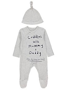 9fdc3a59aa1 Grey Slogan Sleepsuit and Hat
