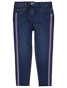 e5f3bef1886 Dark Wash Embellished Side Stripe Skinny Jeans
