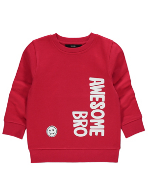 Red Awesome Bro Slogan Sweatshirt