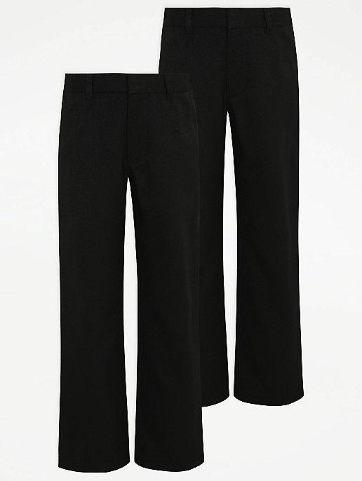 dea5a470fc46c Boys Black Plus Fit Flexi-Waistband School Trouser 2 Pack