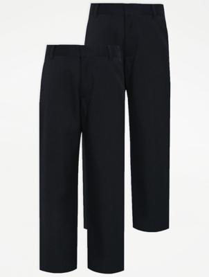 Boys Navy Plus Fit Regular Leg School Trouser 2 Pack