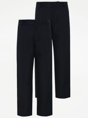 Boys Navy Longer Length Slim Leg School Trouser 2 Pack