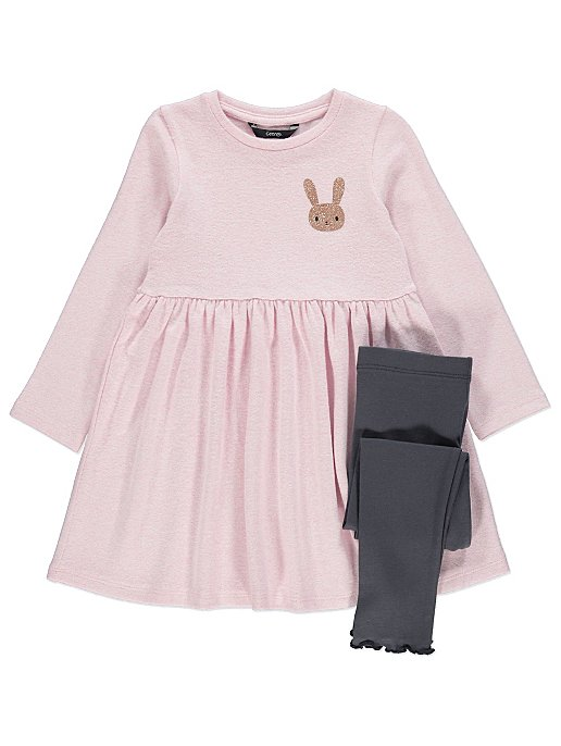 c2161afcc37d Pink Bunny Dress and Leggings Outfit